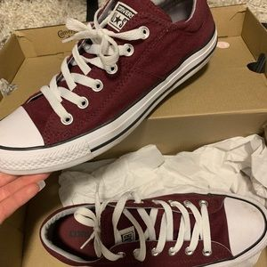 Burgundy Converse. Woman's size 9. Like new.